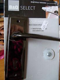 Pair Of Door Handles Black Iridium Effect Interior Or Exterior New