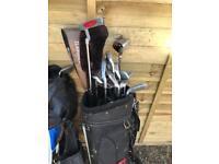 Golf bags a clubs