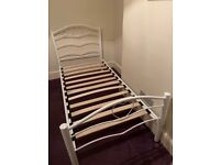 Heart detail white metal bed frame with under bed storage