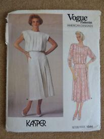 Vogue 1544 Kasper American Designer 1980's Dress Sewing Pattern Size 14 American Designer
