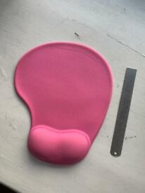 Pink Mouse pad with wrist support