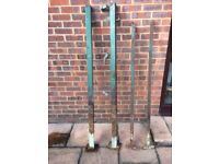 Iron gates and posts, old but very sturdy gates and posts