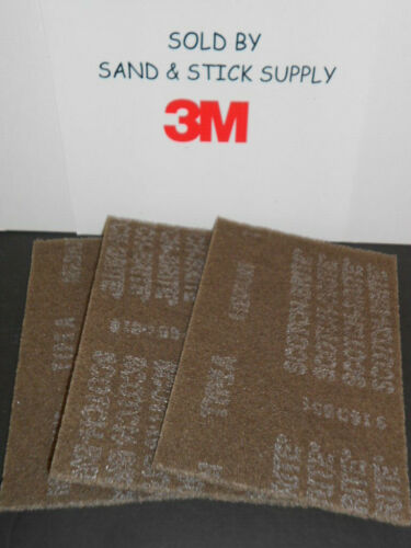 3M SCOTCHBRITE 7440 BROWN HAND PADS 6X9 CLEANING HEAVY SCOURING 3 PADS FREE SHIP