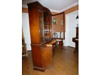 Hard wood varnished china cabinet. Overall size 177 cm high x 123 cm x 32 cm. Good condition.
