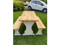 Shabby chic pine table and benches