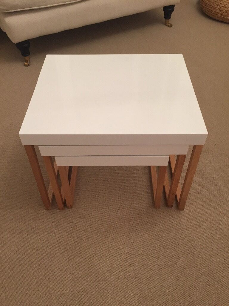 as new habitat 'kilo' white nest of tables | in east dulwich