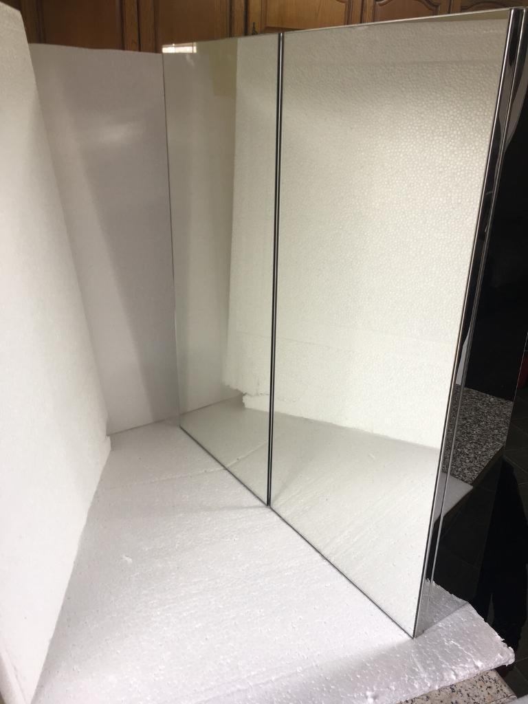 Double Door Stainless Steel Bathroom Mirror Wall Cabinet In