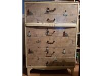 Chest of drawers: vintage decoupaged in nautical patterned design