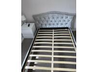 Crushed velvet bed frame