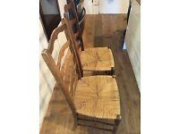 2 Rustic Ladderback Chairs