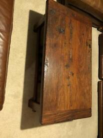African wood coffee table with rack and stool