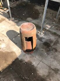 Red Vented Chimney Pot Vintage Clay