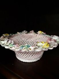 1950's bone china lattace dish 10inch so very pretty powder pink with flowers £20