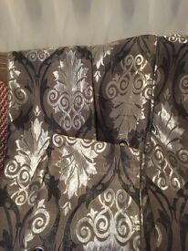 2pair of curtains good condition fully lined silver and grey