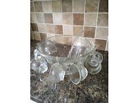 Fabulous glass punch bowl set
