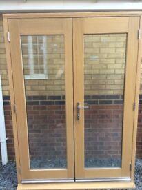 Ex display, pre finished, Oak veneered 5ft French Door set and frame