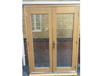 Ex display, pre finished, Oak veneered 5ft French Door set and frame