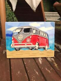 Hand painted tile VW camper van