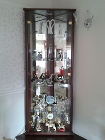 corner glass and mirror display cabinet in mahogany