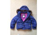 Boden Age 3-4 Girls Winter Coat Blue RRP £56 detachable hood/sleeves - gilet.
