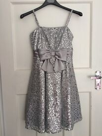 Girl's M&S Silver Sequined 'Autograph' Party Dress with matching bolero cardigan & silver shoes