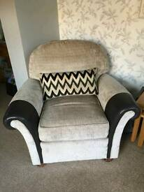 2 cream & leather chairs