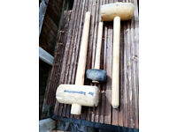 2 LARGE WOODEN CAMPING MALLETS + 1 SMALL RUBBER ONE
