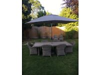 Rattan Patio furniture - table, chairs and parasol