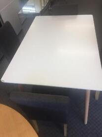 Hygena Charlie Solid Dining Table - White with 4 Grey fabric chairs