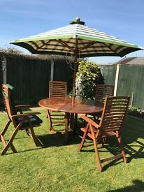 Large Pagoda garden table with chairs, parasol and cushions