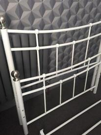 White metal single bed frame (no mattress)