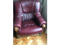 Free 3 seater leather sofa and 2 matching chairs