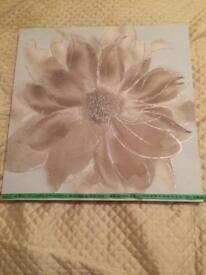 Square canvas flower print in neutral colours 50 cms2 approx