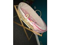 Baby bath, girl Moses basket, bottle warmer and bed guards