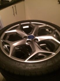 Full set of ford st wheels , gray coated , f1 tyres on too