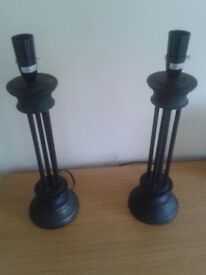 Pair Black Table Lamps - Very Good Condition