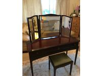 Stag dressing table with match stool and three way mirror