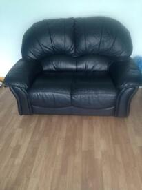 Suite black leather 3+2 seater