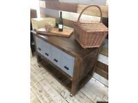 Handmade industrial style kitchen trolley island with storage