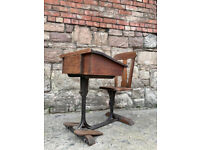 Victorian Adjustable Wood and Cast Iron Childs School Desk Antique Rare Design