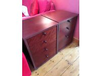 Two dark wood filing cabinets