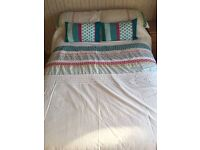 3/4 hand made bed frame and cushion top mattress.