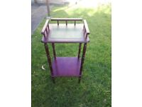 Cherry Wood 1970's Small Telephone/Hall stand c/w Green Leather inlay on top shelf.