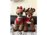 Build a bear Christmas Rudolph and Clarice plush toys