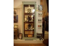 2 VINTAGE MIRROR BACKED TALL GLASS CABINETS AVAILABLE TOGETHER OR SEPARATELY