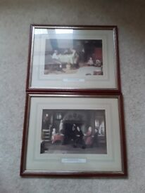 Two wooden framed prints, Follow my leader and The young kite makers