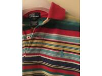 Boys Ralph Lauren Polo Top T-Shirt Aged 6 Gift Designer Christmas Stripy Blue Red Green Yellow