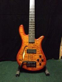 Spectorcore5 Five string Bass Guitar in Amber Flame in beautiful condition inc Thomastic Jazz Flats