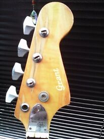 GRANT JAZZ BASS 1970'S MADE IN JAPAN REPAIR OR SPARES SELLING SOLD AS SEEN