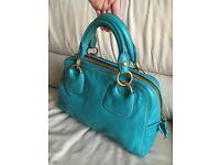 Miu Miu by Prada leather turquoise hand bag tote